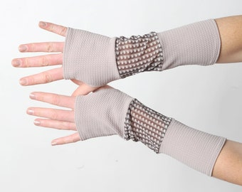 Long beige armwarmers, jersey and mesh patchwork armwarmers, checkered pattern, MALAM, Gift for her, Womens accessories