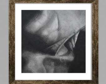 Charcoal Drawing Print- Realism, Figure, Neck