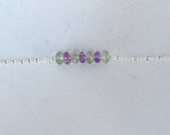Sterling Silver Bracelet with Amethyst & Green Amethyst