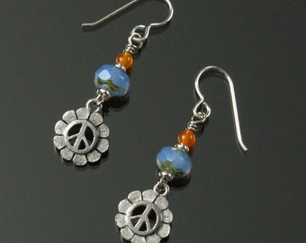 Peace Sign Flower Earrings, Unique Silver Earrings, Blue & Orange Peace Symbol Jewelry, Unique Gift for Her, Sixties Earrings Gift for Women