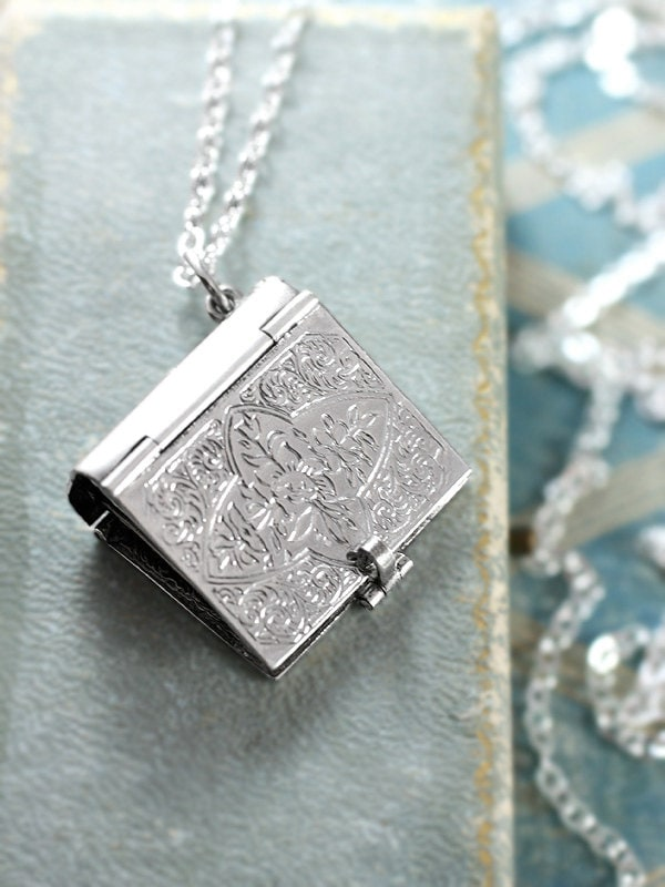 Sterling silver book locket necklace rare rectangular four photo t f o r e d g a r aloadofball Images
