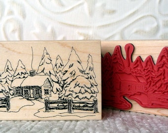 Snowy Cabin rubber stamp from oldislandstamps