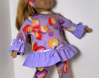"18"" Doll Clothes fit American Girl Ruffled Tunic & Leggings Set TROPICAL FRUIT"