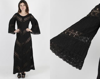 Mexican Dress Crochet Mexican Wedding Dress Ethnic Dress Black Dress Vintage 70s Lace Boho Bell Sleeve Fiesta Cotton Long Maxi Dress S