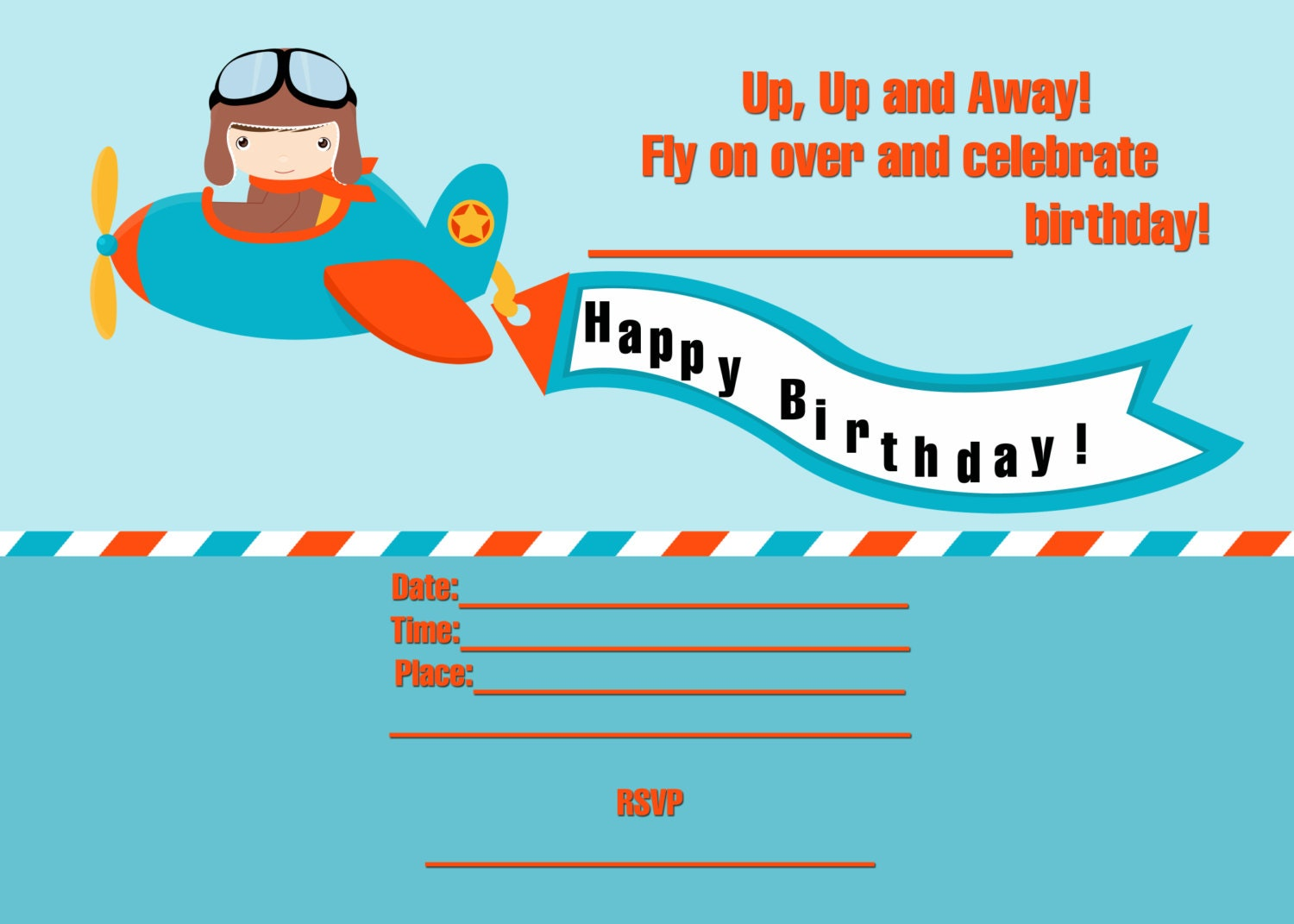 Fill In Birthday Party Invitations Printable Little Pilot