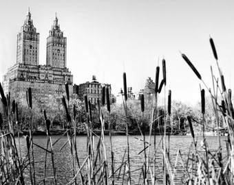 New York Photography - Central Park Lake and San Remo at 145 Central Park West. Black and White Photograph, Manhattan, New York - 8x10 photo