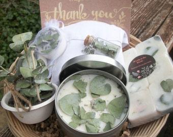 Rustic All natural Eucalyptus spa gift set-Aromatherapy gift sets-firestarter-sachet-wax melts-eucalyptus-essential oil spa sets-nature made