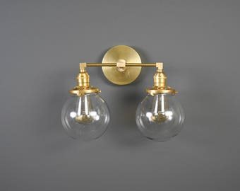 Wall Sconce Vanity Gold Brass 2 Bulb With Clear Globes Modern Mid Century Industrial Art Light Bathroom UL Listed