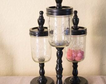 Apothecary Jar Home Decor -  Set of three 1/2 pint or pint size mason jars on pedestal base