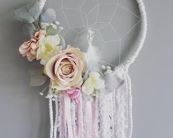 Pink floral dreamcatcher, boho decor, boho dream catcher, boho chic, nursery decor, bedroom decor, macrame, hippie decor, baby shower gift