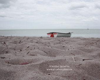 Beach Ocean Photography - Lifeguard Boat - Wall Decor - Beautiful Fine Art Print