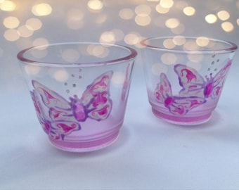 Hand painted pair of Pink Butterfly Candle Holders