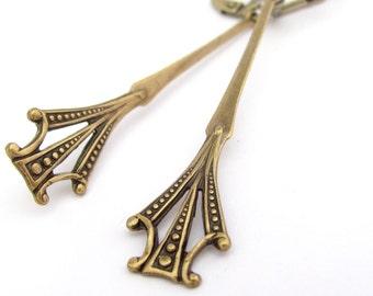 Art Deco Earrings, Antiqued Gold Brass Earrings, Bridesmaid Gift, Bridal Jewelry,  Wedding Jewelry Hawaiibeads