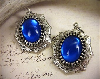 Sapphire Blue Renaissance Earrings, Antiqued Jewel Earrings, Tudor Earrings, Renaissance Wedding, SCA Jewelry, Medieval, MedCol