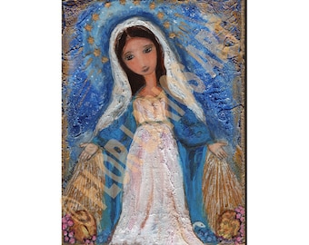 Virgen Milagrosa - Reproduction from Painting by FLOR LARIOS (8 x 10 Inches Print)