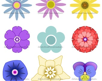 Color Flowers Embellishments Digital Clip Art, Clipart, Personal and Commercial Use, png bundle, vector