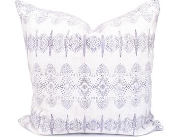 Boho Pillow Cover, Purple Printed Pillow, Abstract Pillow, Linen Cotton Pillow, Housewarming Gift, Closing Gift | 18x18, 22x22 | Arielle