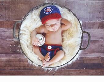 Baby Boy Clothes, Newborn Baby Boy Hat, Baby Boy Clothes, Baby Boy Take Home Hat, Newborn Baby Boy Outfit - Chicago Cubs Baby Hat