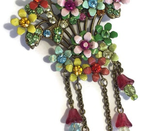 Antique Flower Brooch Enamel Bouquet Of Painted Flowers Colored Cut Glass Stone Centers Brass Setting Vintage Jewelry