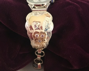 Side View Horse Watchband/ Sterling Silver and goldfill/ Artisan Handmade/ adjustable toggle closure