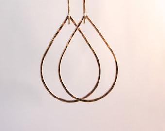 Dangly Gold Teardrop Hammered  Earrings