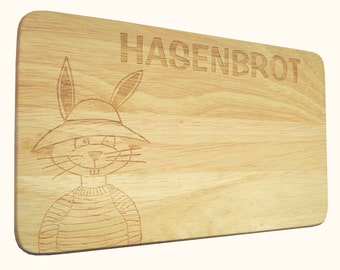 Breakfast Board Bunny Hasenbrot wish engraving wood-breakfast board-engraving-Rabbit-Text of your choice