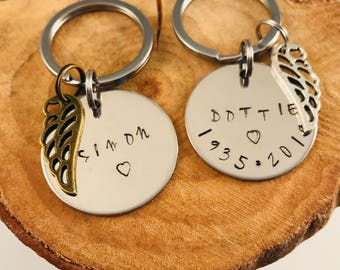 Personalized Memorial Key chain, Sympathy Gift, Loss of Loved One, Remembrance Key Chain, Bereavement Gift, Infant Loss, grief gift, angel