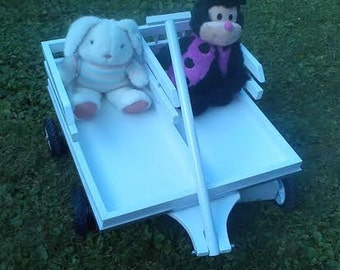Tandem Wooden Wagon for 2  - Perfect for Twins, brothers, sisters !  Adorable for the growing family