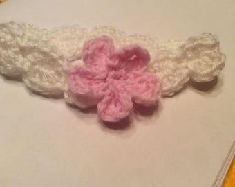 Pink Baby Crochet Headband with Flower