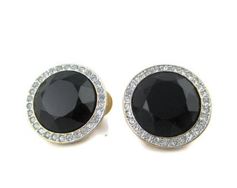 Vintage Carolee Black Faceted Glass and Clear Crystal Goldtone  Clip Earrings