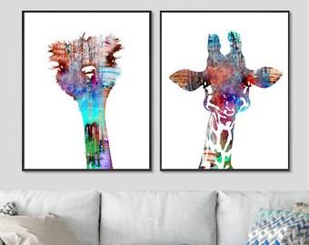 Baby nursery animals, baby ostrich, baby giraffe, art print set, watercolor painting, african animals, kids room decor - H160/H86