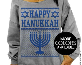 HAPPY HANUKKAH, Ugly Hanukkah, Sweater, womens sweatshirt, Jewish Shirt, Women's Clothing, Off the Shoulder, Oversized, Slouchy Sweatshirt