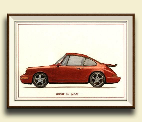 PRINT Porsche 911 964 RS Porsche Classic Print Watercolor