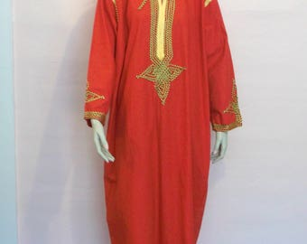 Vintage Long Red Gold Cotton Caftan Tunic from Egypt szL