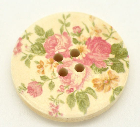 BBR30221 - 2 BUTTONS ROUND 30 MM WOODEN PATTERN WITH COLORS