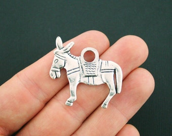 2 Donkey Charms Antique Silver Tone 2 Sided Larger Size - SC5546