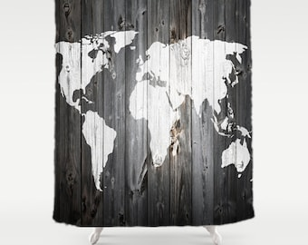Barn shower curtain etsy world map shower curtain gumiabroncs Gallery