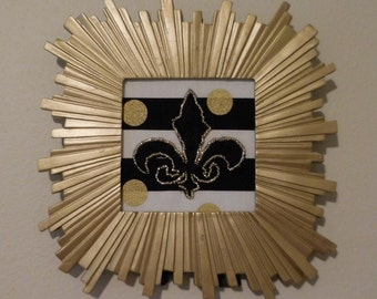 Wall art, Gold Art Deco frame with gold and black Fleur de Lis hand beaded