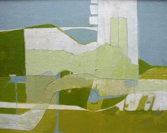 framed art, original art, mixed media, landscape, kim mullay, bridges, modern
