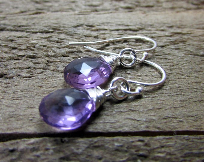 Amethyst Earrings, Dainty Sterling & Amethyst Dangle, Simple Gemstone Earring