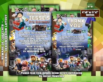 Minecraft Birthday Invitation & Thank You