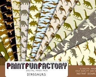 Dinosaur digital paper - Dinosaurs Jurassic background paper  - 12 digital papers (#159) INSTANT DOWNLOAD