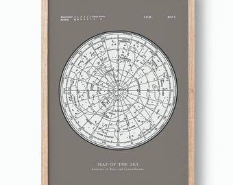 Star Map Constellations Poster. Map of the Sky. Modern Vintage Astronomy Print. Warm Grey Celestial Map. Gallery Wall Art.