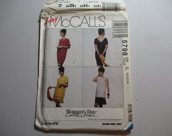 McCall's 5798 ~ Misses' and One or Two Piece Dress–Plus Size Sewing Pattern-Womans's Day Collection 1992
