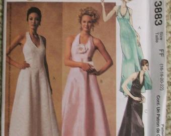 McCalls 3883 Evening Elegance Halter Evening Dress Pattern Size 16-18-20-22