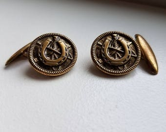 Vintage Brass Horseshoe Cuff Links