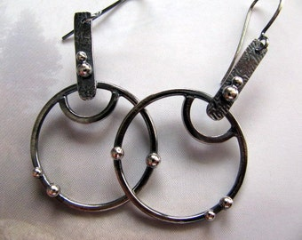 Sterling Silver Hoop Earrings, Large Round Silver Dangle Earrings, Handmade Sterling Silver Jewelry