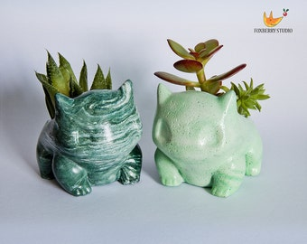 Made to Order ANY COLOUR UNIQUE Marbled Stone Look Bulbasaur Pokémon Planter / Succulent Planter / Jewelry Holder
