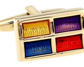 Colorful Gold Yellow Blue Red Purple Cufflinks Cuff Links