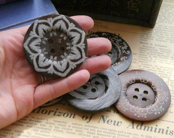 5 pcs LARGE Huge Big Wood Assorted Buttons 6cm over 2 inch (WB689)